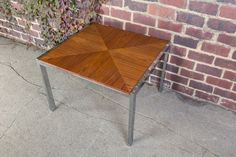 Milo Baughman Chrome and wood Square side Table Mid Century Modern vintage  #ArthurCourtDrexel