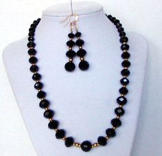 Ole' Black Magic Black and Gold Swarovski Crystal Necklace Earring Set Free Ship by AGreenWoods on Etsy
