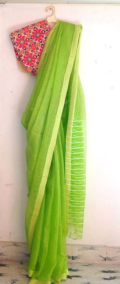 Lime green semi tussar silk saree with Kutch work unstitched blouse / sari Indian Attire, Indian Ethnic Wear, Ethnic Fashion, Indian Fashion, Women's Fashion, Indian Dresses, Indian Outfits, Plain Saree, Simple Sarees