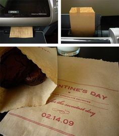 putting paper bags through the printer to make goodie bags.