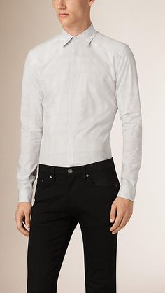 White Slim Fit Check Jacquard Cotton Shirt - Image 1 Formal Shirts For Men, Cashmere Scarf, Luxury Branding, Burberry, Long Sleeve Shirts, Slim, Shirt Dress, Coat, Fitness