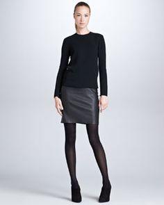 B28VC Ralph Lauren Black Label Charmaine Leather-Skirt Combo Dress, Black