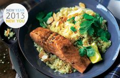 moroccan style salmon with couscous