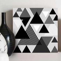 quadro decorativo triangles black&white