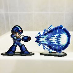 Mega Man perler bead art by stubbicus < why is this taken on the edge of a bathtub?