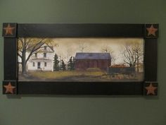 **Primitive Country Rustic Large Framed Picture - Billy Jacobs - Fall!!**
