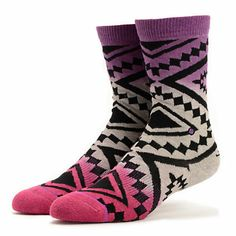The Stance Taos Remix socks for girls in the Wine Ombre colorway have a southwest look with a trendy upgrade that will match most outfits.