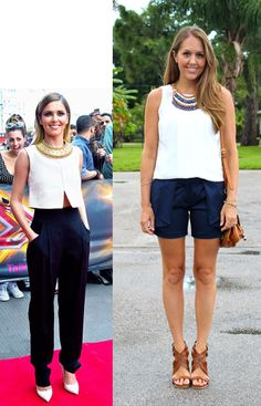 Inspiration:Ben Pruchnie/FilmMagic via WWW  Above: my look for less with a pair of navy ruffle shorts. The white top  and bib necklace mirror the inspiration, but from there my version has a  much more casual, bohemian feel. Takes it from a red carpet stunner to  something I could easily throw on.  Below: another navy outfit, from the Vince Camuto Macy's event I hosted on  Saturday. The top is c/o Vince Camuto and I built the rest of my outfit  from there. There was such a great turn out…