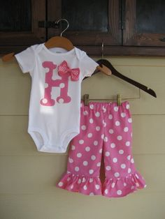 Polka Dots Initial Oneise or Shirt and Matching Ruffle Pants - sizes 6m to 5T....SUPER CUTE and Lots of COLORS to Choose From. $35.00, via Etsy.