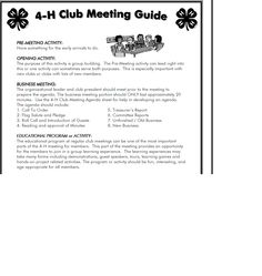Example Of Agenda For A Meeting 4 H Meeting Agenda Template  Google Search  Krazy 4 Clovers 4H .
