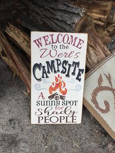Welcome to our Campsite • RV Gift • Gift for Campers • Personalized Camping Sign • A sunny spot for shady people • Funny Camping Sign
