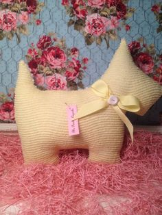 Scottie Pillow  Vintage Yellow Chenille Front by ThePaintedCupcake, $28.00