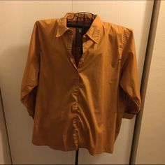 Button up blouse Mustard colored button up blouse Silhouettes Tops Button Down Shirts