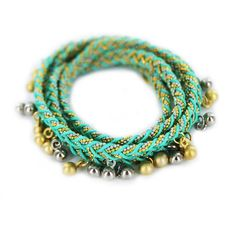Braided Thread and Gold Chain Wrap Bracelet with Gold Plated Beads -Aqua-
