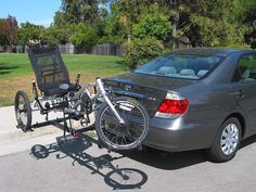 Plugs into your receiver or box style trailer hitch and carries recumbent trikes, adult trikes and hand cycles. Car Bike Rack, Tricycle Bike, Adult Tricycle, Trike Bicycle, Recumbent Bicycle, Car Racks, Car Trailer, Trailer Hitch, Hitch Rack