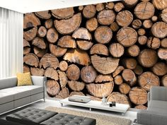 Log Pile Wall wall mural living room preview