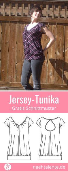 Gratis Schnittmuster für eine Damentunika aus Jersey. PDF-Schnittmuster Größe XS, S, M, L, XL. Nähtalente.de - Magazin für kostenlose Schnittmuster - Free sewing pattern for a woman tunic with knit fabrics. PDF-sewing pattern for print at home in size XS, S, M, L, XL. Nähtalente.de - Magazine for sewing and free sewing patterns #nähen #freebook #schnittmuster #gratis #nähenmachtglücklich #freesewingpattern #handmade #diy