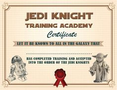Jedi Academy Training Certificate  Instant Download Star Wars