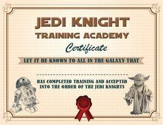 INSTANT DL Jedi Knight Certificate Star Wars Birthday by GoAlis