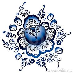 """Gzhel Flowers"" - Traditional Russian Ornament by Ievgen Melamud."