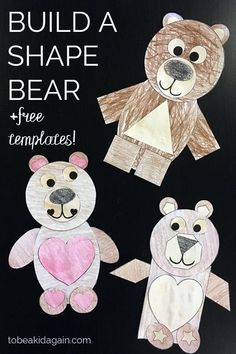 shape activity - build a shape bear - toddler shapes - preschool math - simple crafts for kids - cut and paste craft - shapes brown bear Arts And Crafts For Teens, Easy Crafts For Kids, Arts And Crafts Projects, Toddler Crafts, Toddler Preschool, Summer Crafts, Toddler Classroom, Fall Preschool, Children Crafts