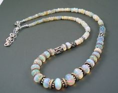 Opal Necklace, Ethiopian Fire Opal Large Colorful Rondelles, Beaded Necklace with Oxidized Sterling Silver