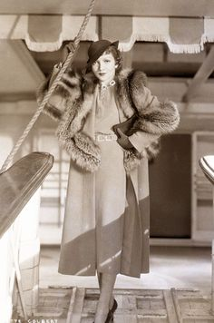 Claudette-Colbert-1930s-fashion - Tailored suit from 1934.  During her career, Colbert starred in more than sixty movies. She was the industry's biggest box-office star in 1938 and 1942.