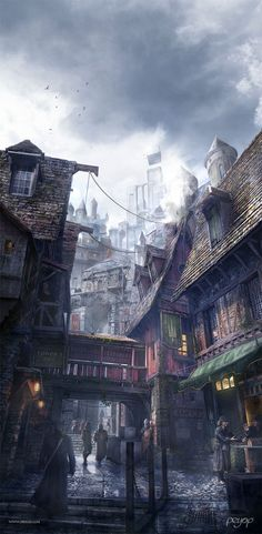 Malombre by Pierre Fabre Fantasy CGSociety Fantasy Town, Medieval Fantasy, Dark Fantasy, Fantasy Village, Fantasy House, Fantasy Landscape, Landscape Art, Landscape Photography, Fantasy Concept Art