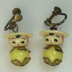 Vintage Celluloid Figural Earrings    Kokeshi by GregDeMarkJewelry, $58.00