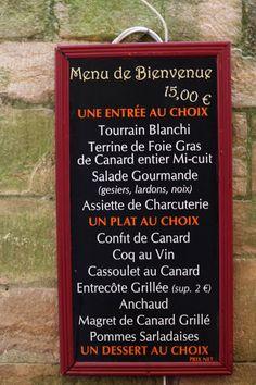 La Menu ... at a truly French Restaurant