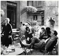 Ugo Mulas  Lina Mainini, Alfa Castaldi, Arturo Carmassi e Cesare Peverelli  Bar Jamaica. Milano, 1953-1954  by Ugo Mulas
