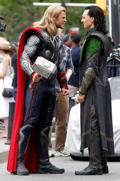 Chris Hemsworth & Tom Hiddleston on set for The Avengers