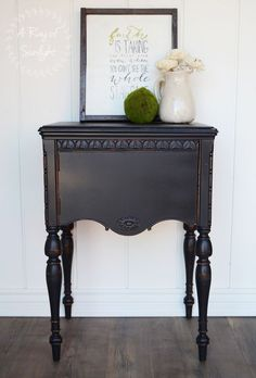 This vintage sewing desk was transformed into the perfect nightstand beside your bed. Painted by A Ray of Sunlight