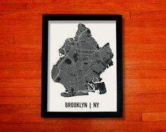 New York City Brooklyn Map Art City Print by MrCityPrinting...lots of city options