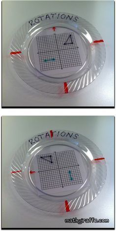 Plastic Plate Math Activities - How to Make & Use Rotations on the Coordinate Plane - layered plate activity Fun Math, Math Games, Math Activities, Math Math, Geometry Activities, Maths Algebra, Guided Math, Kindergarten Math, Math Resources