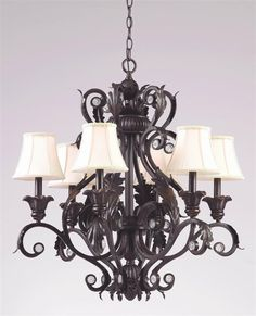 Crystorama - 6 Lights Hand Painted Wrought Iron Chandelier