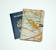 Passport Cover Wallet Travel Organizer  World Map by RKEMdesigns