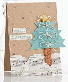 Cute Christmas Card...using felt, cork, & sheet music paper.