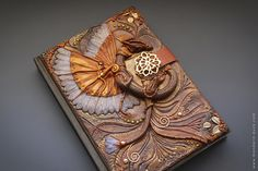 Fantasy Steampunk journal A5 size - polymer clay - Sketchbook - Honey Dragon  - fantasy steampunk gothic lolita blank diary