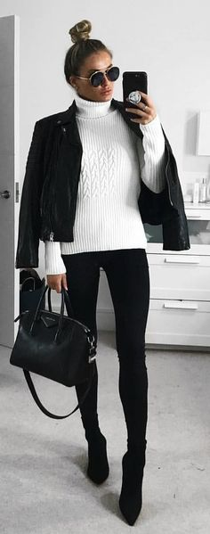 #winter #outfits  knitted white sweater, black leather zip-up jacket, black fitted pants, black leather pointed-toe high-heeled booties, black leather two-way bag and black sunglasses outfit