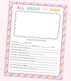 FREE Mother's Day Questionnaire Printable for mom and grandma. It's the perfect gift for kids and grandkids to gift because it's personalized and treasured by anyone who gets one. Homemade Mothers Day Gifts, Mothers Day Crafts For Kids, Fathers Day Crafts, Paper Crafts For Kids, Mother Day Gifts, Diy For Kids, Gifts For Kids, Diy Mother's Day Crafts, Mother's Day Diy
