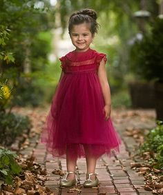 Brand new boutique toddler girls deep red magnolia floral print dress