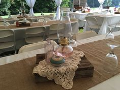 Oil lamps add the vintage flair and elegant glow of candle light to your centerpieces.