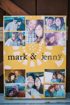 Canvas wrapped in fabric, photos glued on top. Simple and easy DIY wedding decor