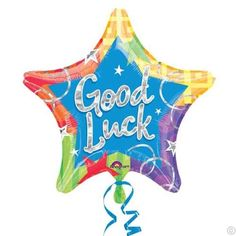 "Give them a lucky star with our Prismatic Star Good Luck Balloon. This foil star balloon shines bright just like the star they are. A ""Good Luck"" message sparkles in prismatic silver, complemented by a colorful graphic border sprinkled with stars. Halloween Costume Shop, Halloween Costumes For Kids, Balloon Weights, Balloon Delivery, Personalized Party Favors, Kids Party Supplies, Lucky Star, Party Stores, Birthday Party Themes"