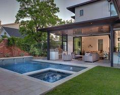 Contemporary Backyard Open Patio Small Pool