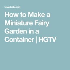 How to Make a Miniature Fairy Garden in a Container | HGTV