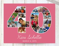 40th Birthday Invitation with photo collage by InvitingLeeLee                                                                                                                                                                                 More