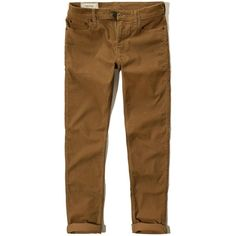 Hollister Skinny Five-Pocket Corduroy Pants ($25) ❤ liked on Polyvore featuring men's fashion, men's clothing, men's pants, men's casual pants, pants, men, bottoms, brown, mens zip off pants and mens stretch pants