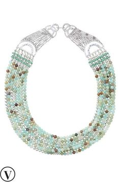 Make a dramatic statement in our Cleopatra Stone Necklace. Made of  semi-precious stones in cool colors, only from Stella & Dot.